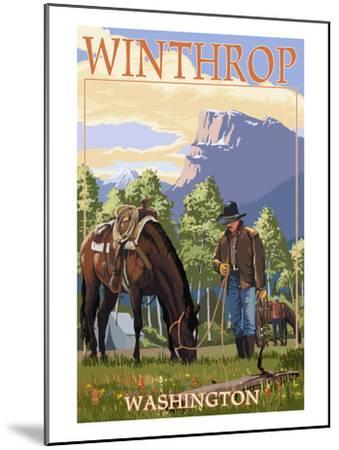 Winthrop, Washington - Cowboy and Horse in Spring-Lantern Press-Mounted Art Print