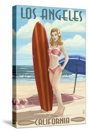 Los Angeles, California - Pinup Surfer Girl-Lantern Press-Stretched Canvas Print