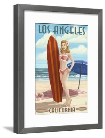 Los Angeles, California - Pinup Surfer Girl-Lantern Press-Framed Art Print
