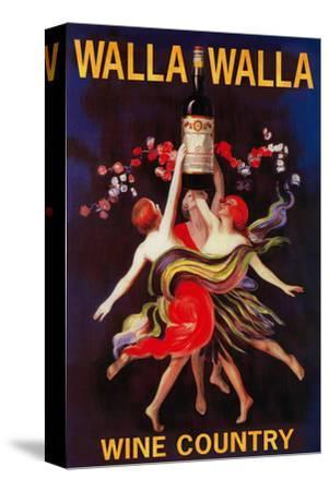 Women Dancing with Wine - Walla Walla, Washington-Lantern Press-Stretched Canvas Print