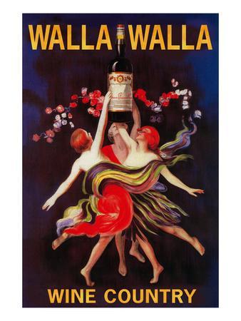 Women Dancing with Wine - Walla Walla, Washington-Lantern Press-Art Print