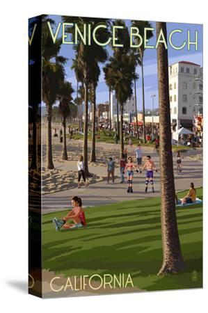 Venice Beach, California - Boardwalk Scene-Lantern Press-Stretched Canvas Print