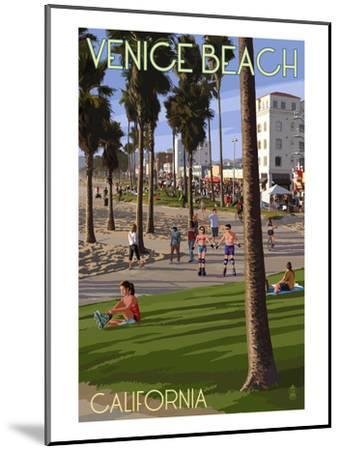 Venice Beach, California - Boardwalk Scene-Lantern Press-Mounted Art Print