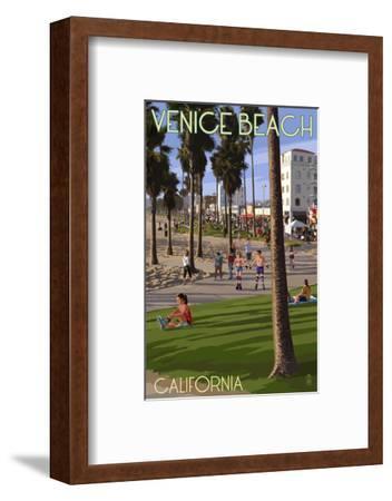 Venice Beach, California - Boardwalk Scene-Lantern Press-Framed Art Print
