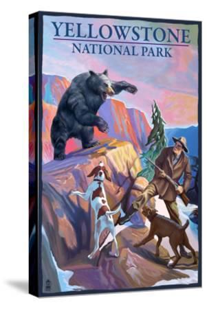 Yellowstone National Park - Bear Hunting Scene-Lantern Press-Stretched Canvas Print