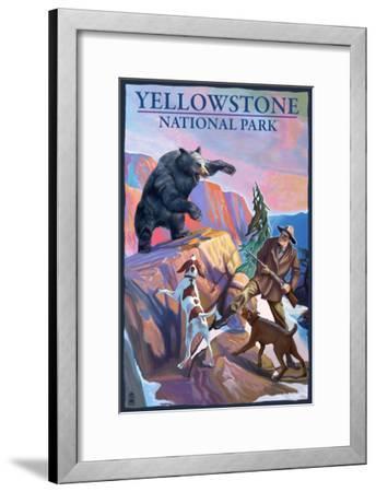 Yellowstone National Park - Bear Hunting Scene-Lantern Press-Framed Art Print