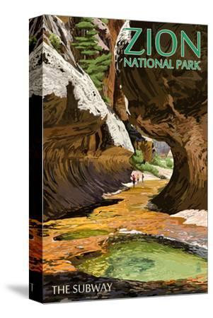 Zion National Park - The Subway-Lantern Press-Stretched Canvas Print