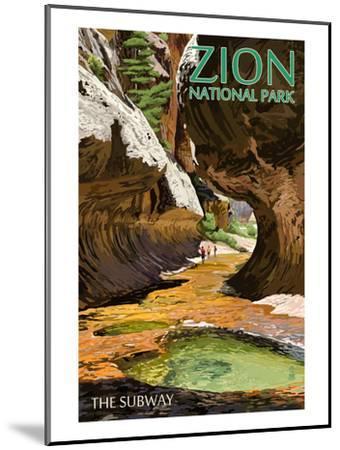 Zion National Park - The Subway-Lantern Press-Mounted Art Print