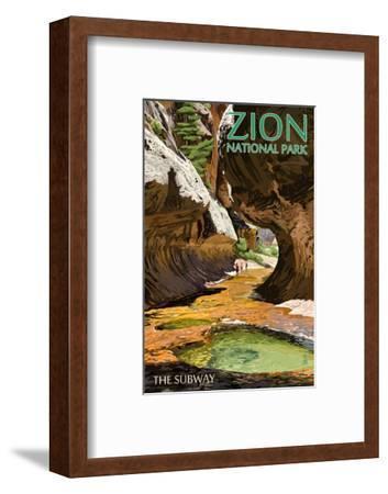 Zion National Park - The Subway-Lantern Press-Framed Art Print