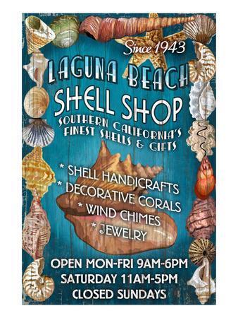 Laguna Beach, California - Shell Shop-Lantern Press-Framed Art Print