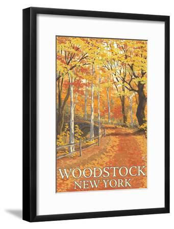 Woodstock, New York - Fall Colors Scene-Lantern Press-Framed Art Print