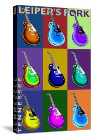 Leiper's Fork, Tennessee - Guitar Pop Art-Lantern Press-Stretched Canvas Print