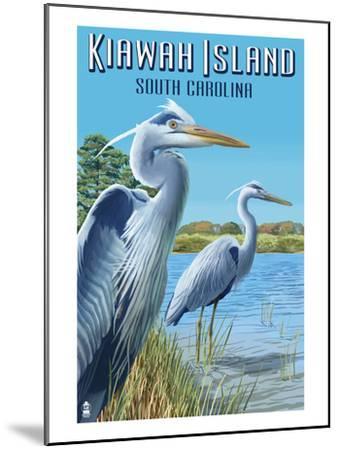 Kiawah Island, South Carolina - Blue Herons-Lantern Press-Mounted Art Print