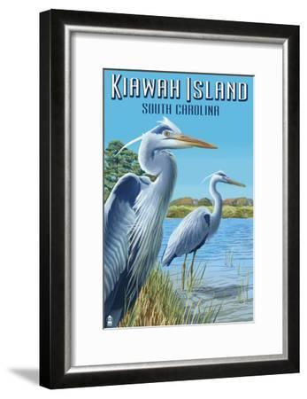 Kiawah Island, South Carolina - Blue Herons-Lantern Press-Framed Art Print