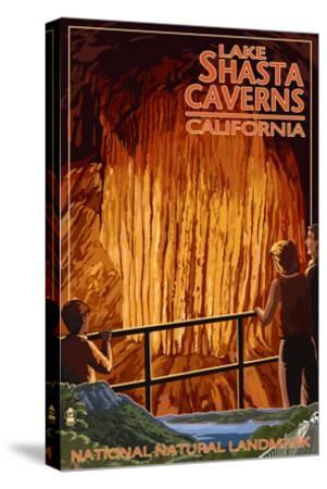 Lakehead, California - Cavern and Lake Scene - National Natural Landmark-Lantern Press-Stretched Canvas Print