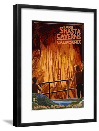 Lakehead, California - Cavern and Lake Scene - National Natural Landmark-Lantern Press-Framed Art Print