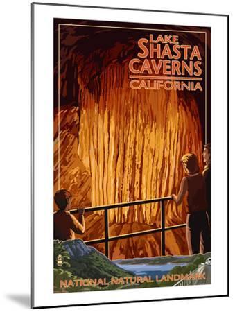 Lakehead, California - Cavern and Lake Scene - National Natural Landmark-Lantern Press-Mounted Art Print