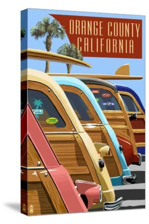 Orange County, California - Woodies Lined Up-Lantern Press-Stretched Canvas Print