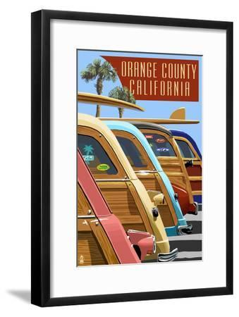 Orange County, California - Woodies Lined Up-Lantern Press-Framed Art Print