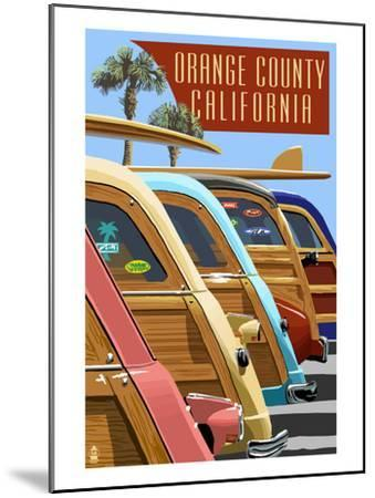 Orange County, California - Woodies Lined Up-Lantern Press-Mounted Art Print