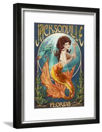 Jacksonville, Florida - Mermaid Scene-Lantern Press-Framed Art Print