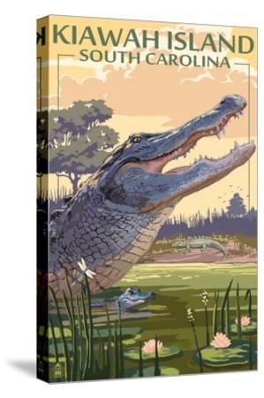 Kiawah Island, South Carolina - Alligator Scene-Lantern Press-Stretched Canvas Print