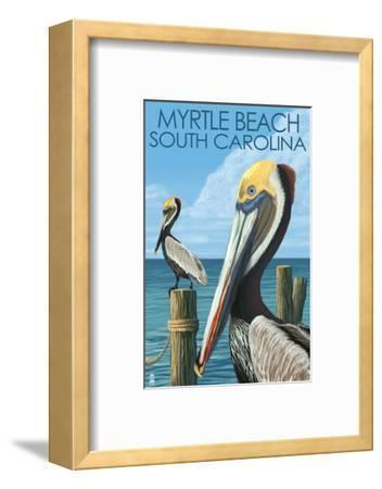 Myrtle Beach, South Carolina - Pelicans-Lantern Press-Framed Art Print