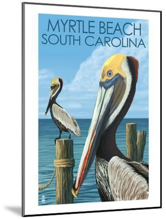 Myrtle Beach, South Carolina - Pelicans-Lantern Press-Mounted Art Print