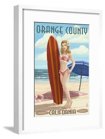 Orange County, California - Pinup Surfer Girl-Lantern Press-Framed Art Print