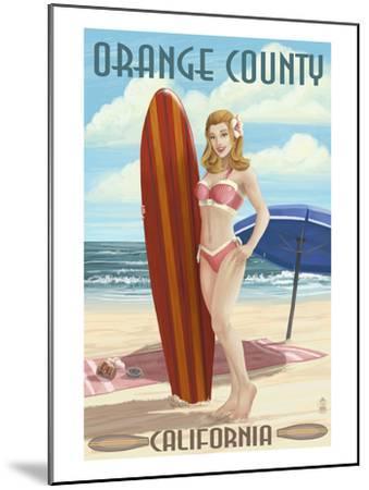 Orange County, California - Pinup Surfer Girl-Lantern Press-Mounted Art Print