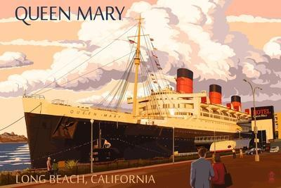 Long Beach, California - Queen Mary-Lantern Press-Stretched Canvas Print