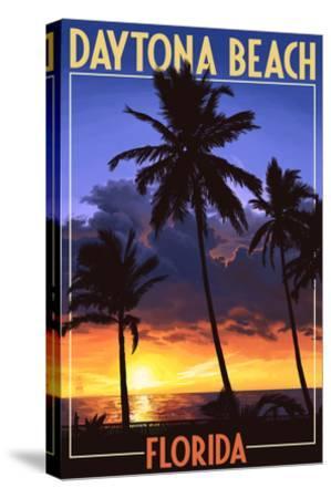 Daytona Beach, Florida - Palms and Sunset-Lantern Press-Stretched Canvas Print