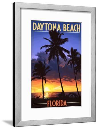 Daytona Beach, Florida - Palms and Sunset-Lantern Press-Framed Art Print