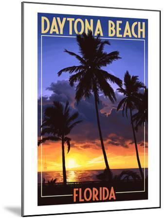 Daytona Beach, Florida - Palms and Sunset-Lantern Press-Mounted Art Print