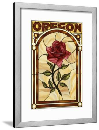 Oregon - Rose Stained Glass-Lantern Press-Framed Art Print