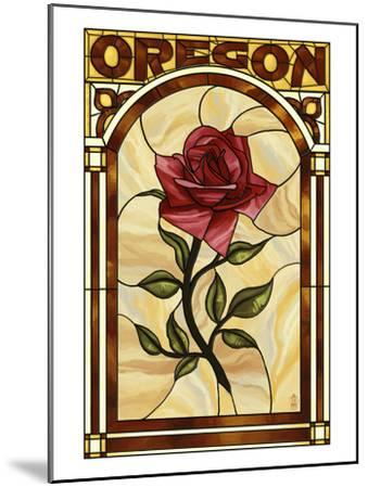 Oregon - Rose Stained Glass-Lantern Press-Mounted Art Print