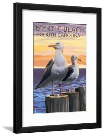Myrtle Beach, South Carolina - Seagulls-Lantern Press-Framed Art Print