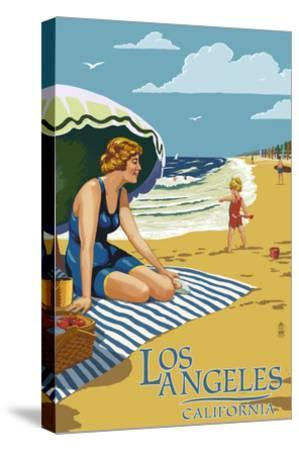 Los Angeles, California - Woman on the Beach-Lantern Press-Stretched Canvas Print