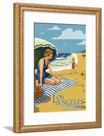 Los Angeles, California - Woman on the Beach-Lantern Press-Framed Art Print