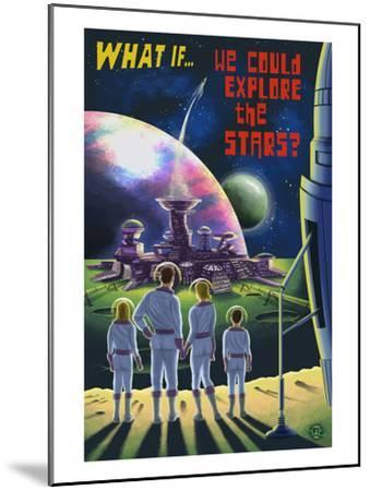 What If We Could Explore the Stars?-Lantern Press-Mounted Art Print