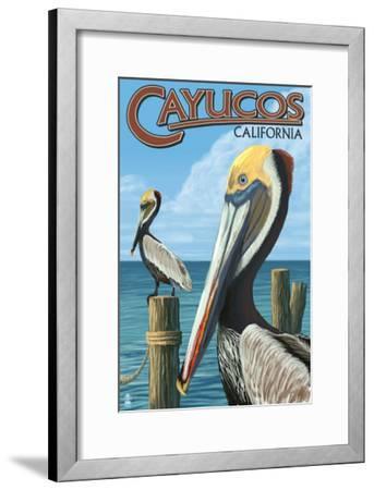 Cayucos, California - Pelicans-Lantern Press-Framed Art Print