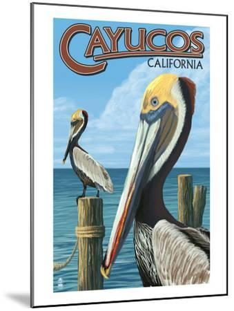Cayucos, California - Pelicans-Lantern Press-Mounted Art Print