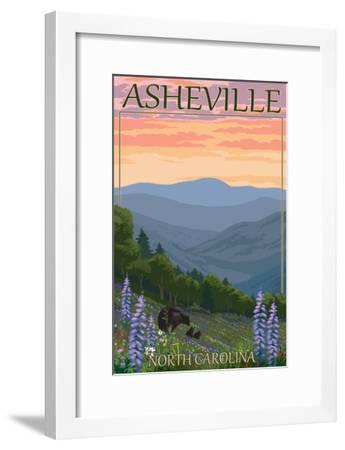 Asheville, North Carolina - Spring Flowers and Bear Family-Lantern Press-Framed Art Print