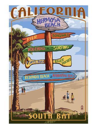Hermosa Beach, California - Destination Sign-Lantern Press-Framed Art Print
