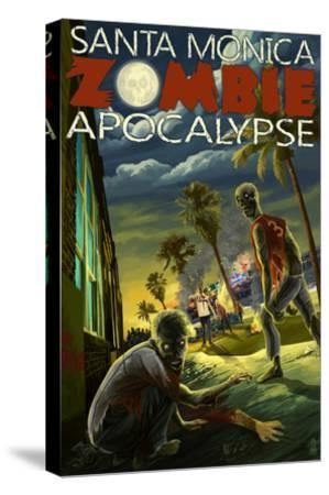 Santa Monica, California - Zombie Apocalypse-Lantern Press-Stretched Canvas Print
