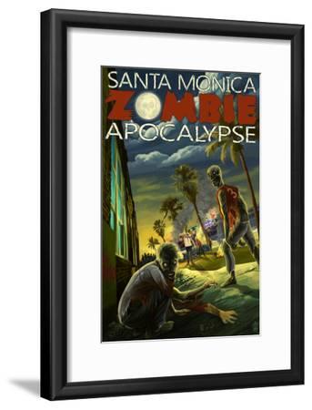 Santa Monica, California - Zombie Apocalypse-Lantern Press-Framed Art Print