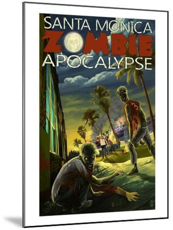 Santa Monica, California - Zombie Apocalypse-Lantern Press-Mounted Art Print