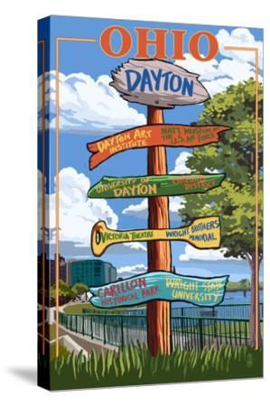Dayton, Ohio - Signpost Destinations-Lantern Press-Stretched Canvas Print