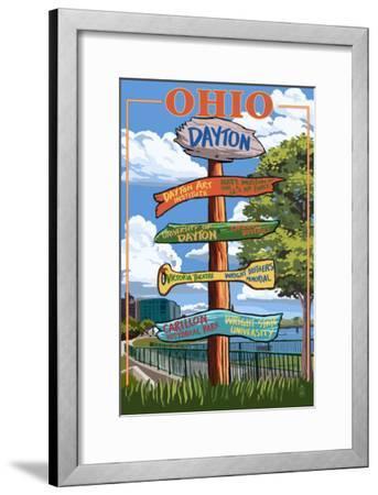 Dayton, Ohio - Signpost Destinations-Lantern Press-Framed Art Print