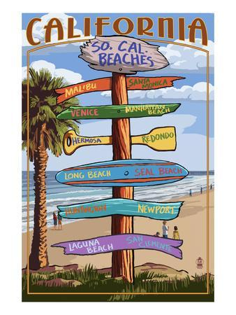 Southern California Beaches - Destination Sign-Lantern Press-Framed Art Print